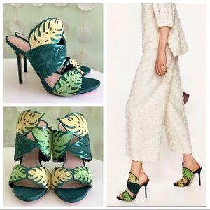 Zara Shoes - Zara Leather Suede Leaf Cutout Wraparound Heels